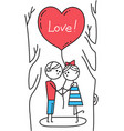 happy valentines card guy and girl kiss in park vector image vector image