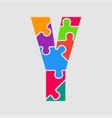jigsaw color shape puzzle piece letter - y vector image