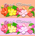 kind morning lettering with flowers greeting card vector image vector image