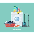 Laundry Washing Machine Vacuum and Detergents vector image