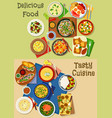 lunch and breakfast menu icon set design vector image vector image