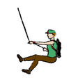 man figure hanging climber with rope vector image