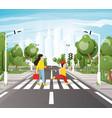 mom with son crossing road on crosswalk road vector image