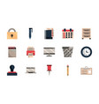office work business equipment icons set vector image vector image