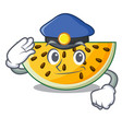 police fresh yellow watermelon on character vector image vector image