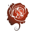 Profile of a beautiful girl with a rose vector image vector image