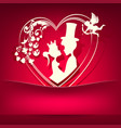 red pink design with a silhouette of the heart vector image vector image
