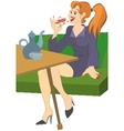 Retro hipster girl sitting on sofa having lunch vector image vector image