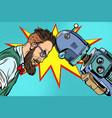 robot vs human humanity and technology vector image vector image