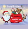 santa and reindeer give gifts vector image