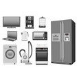 set of colored home appliances kitchen stove vector image vector image