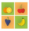 set of fruits cartoons vector image vector image