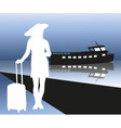 Silhouette of a Lady Going on a Cruise Ship vector image vector image