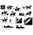 sport games alphabet h icons pictograph horse vector image