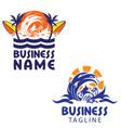 surfing theme logo set vector image