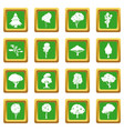 trees icons set green vector image vector image