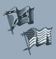 us and confederate flags monochrome tattoo style vector image