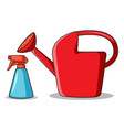 watering can and spray bottle on white background vector image