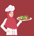 woman chef holding plate of food salad the girl vector image
