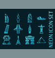 world landmarks set icons blue neon style vector image