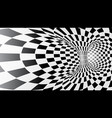 black and white abstract tunnel vector image
