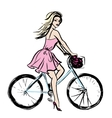 woman in dress on bicycle vector image