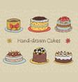 set of hand-drawn cakes vector image