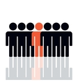 Silhouette of a group of people vector image