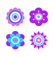 abstract flowers made geometric figures and dot vector image vector image