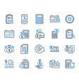accounting line icons set calculation check vector image vector image