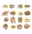 Bakery set of icons Characters of food and bread vector image vector image