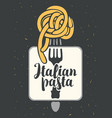 banner with italian pasta on fork vector image vector image