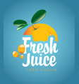 banner with orange fruit and fresh juice splash vector image vector image