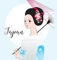 beautyful japanese woman wear kimono vector image vector image