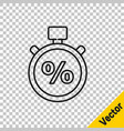 black line stopwatch and percent icon isolated on vector image vector image