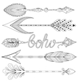 Bohemian Arrows set with feathers Hand drawn vector image