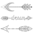 Bohemian Dream Arrows set with feathers for adult vector image vector image
