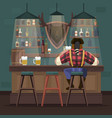 cartoon color character person and beer bar vector image vector image