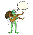 cartoon swamp monster carrying woman in bikini vector image vector image