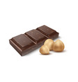 chocolate with nuts realistic piece cocoa vector image vector image