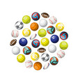 color sport balls circle background vector image vector image