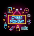 cyber monday neon concept vector image vector image