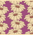 daisy stems seamless pattern over purple vector image