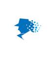 detective pixel sheriff head logo vector image