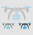 drone video camera mesh network model and vector image vector image