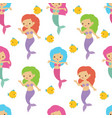 fairytale cute mermaids sea underwater girls vector image