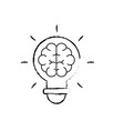 figure bulb with brain inside to creative design vector image vector image