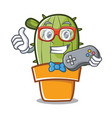 gamer cute cactus character cartoon vector image vector image