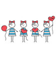 girl makes heart from round ballooncute character vector image vector image