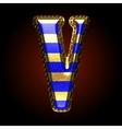 golden and blue letter v vector image vector image